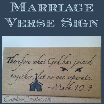 DIY Burlap Marriage Verse Sign | CandaceCreates.com