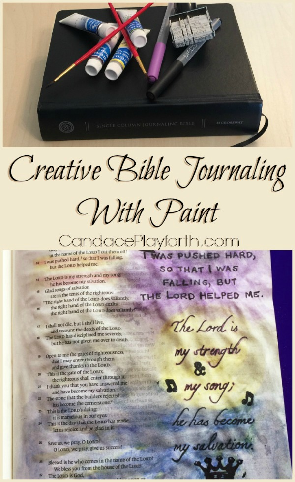 Have you tried bible journaling with paint? Check out this easy example showing the basic technique along with a supply list for beginners!